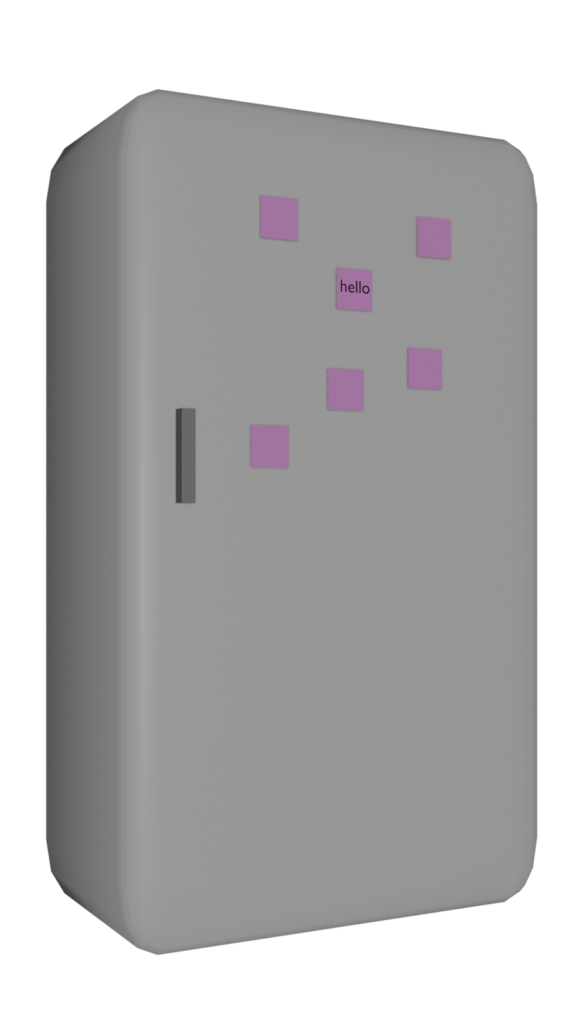 An image by the artist Tilly P-M, showing a fridge with sticky notes on.
